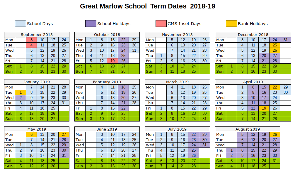 Term Dates | Great Marlow School Website