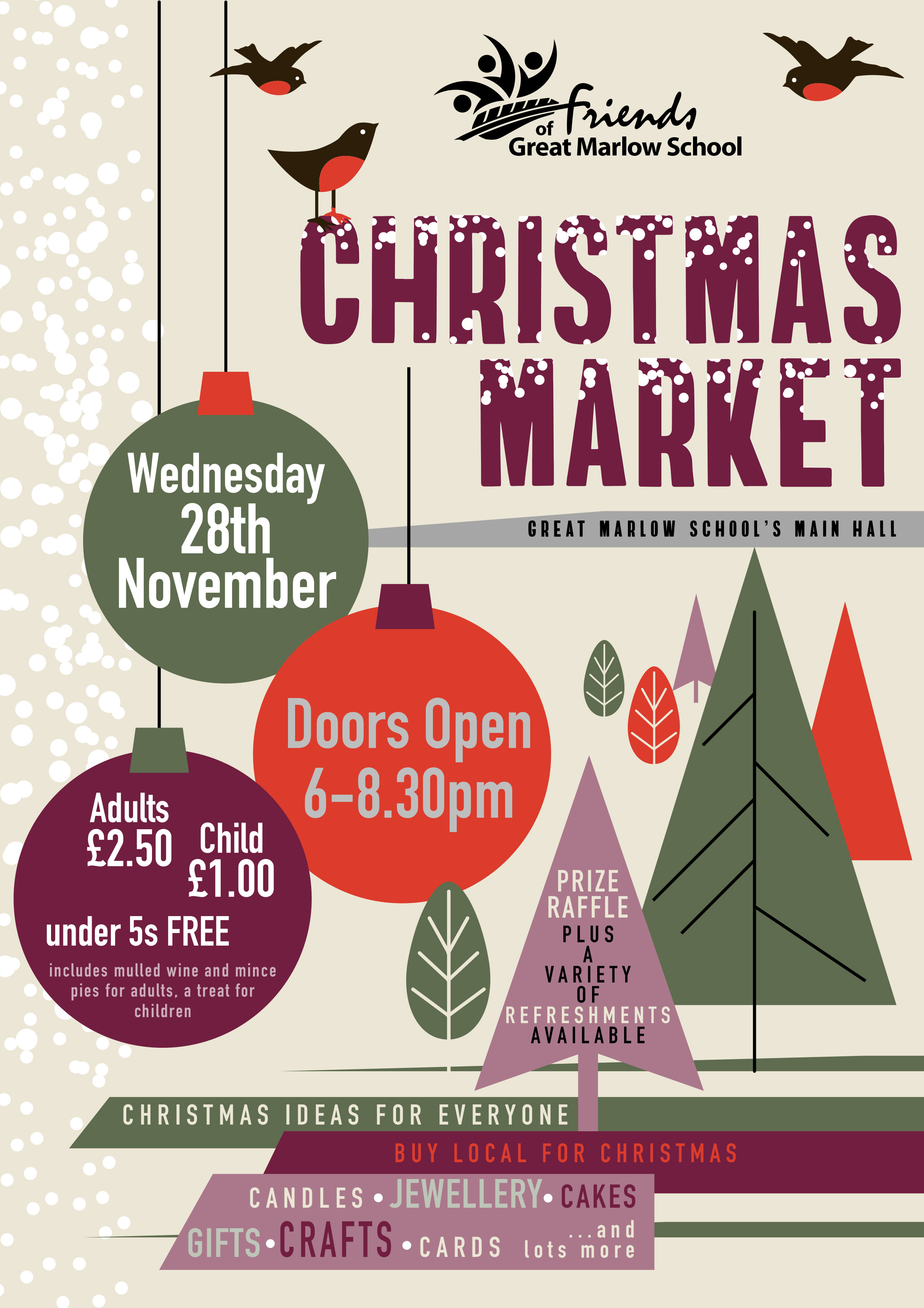 Today 6pm 8 30pm Fogms Christmas Market 60 Stalls To Buy Unique Christmas Gifts 28th November 2018 Great Marlow School Website